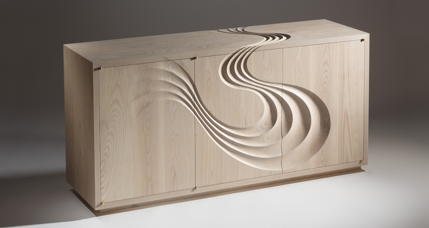 Sculptural Sideboard in solid ash