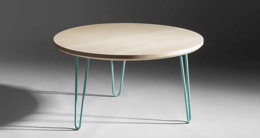 Round hairpin coffee table with mint green