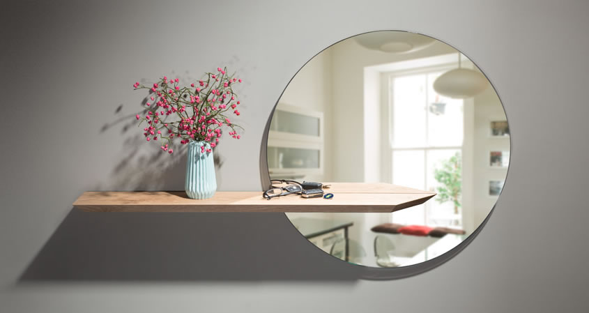 Round mirror with floating oak shelf
