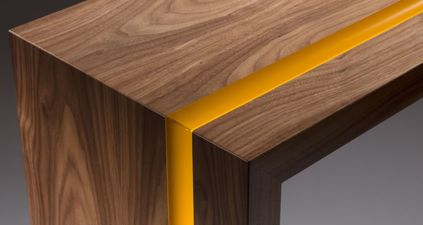 Walnut Console Table with yellow stripe detail