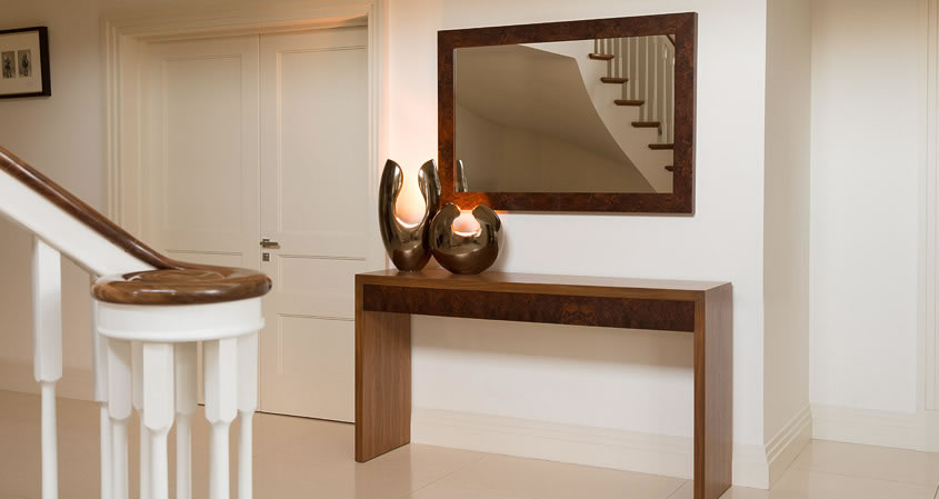 Walnut console table and mirror