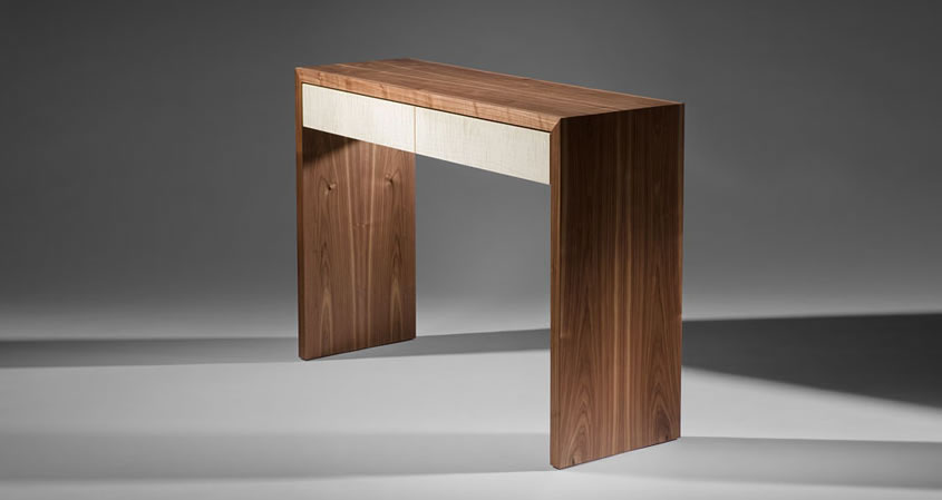 Walnut Console with Drawers