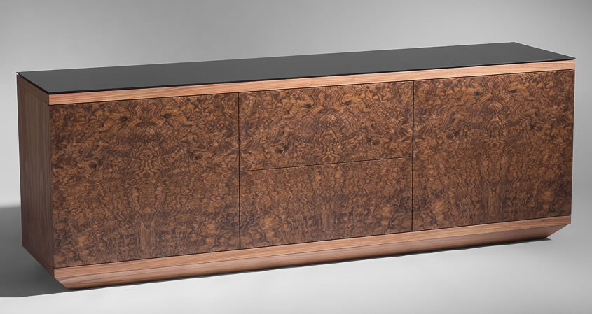 Walnut and burr walnut sideboard